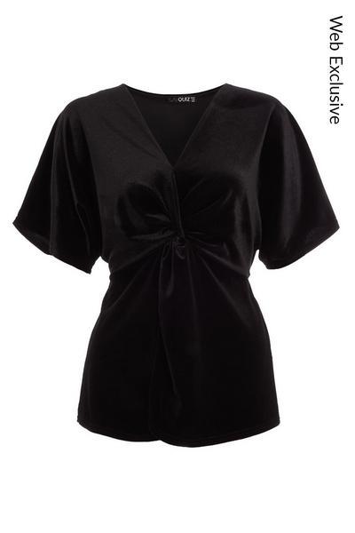 Black Velvet Knot Front Batwing Top